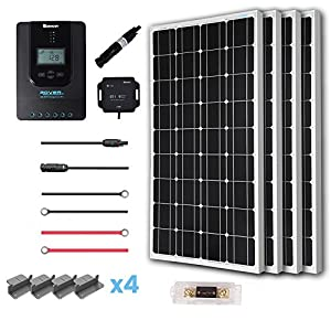 Renogy 400 Watt 12 Volt Off Grid Solar Premium Kit with Monocrystalline Solar Panel and 40A MPPT Rover Controller/Mounting Z Brackets/MC4 Adaptor Kit/Tray Cables Fuse set /MC4 fuse