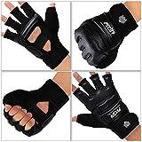 FitsT4 Half Mitts UFC MMA Training Boxing Punch Bag Kickboxing Sparring Grappling Martial Arts Muay Thai Taekwondo Wrist Wraps Support Gloves for Women Men Kids Black S