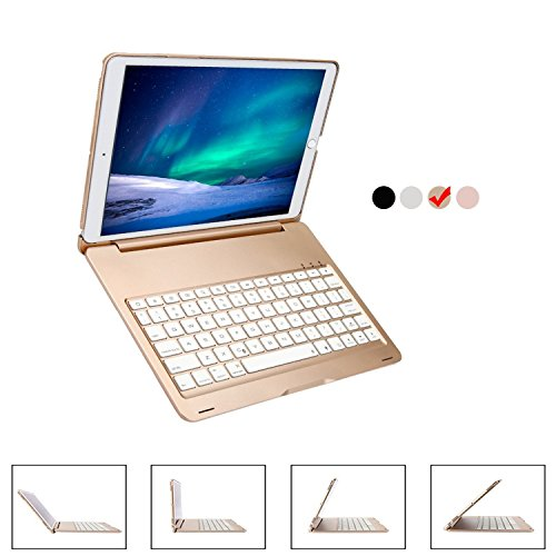 9.7 inch iPad Keyboard Case, YiMiky 7 Colors LED Backlit Wireless Bluetooth Keyboard Case Smart Stand Colorful with Executive Multi Function Case for iPad Pro 9.7 inch Tablet(iPad Pro 9.7,Gold) Executive Multifunction Leather