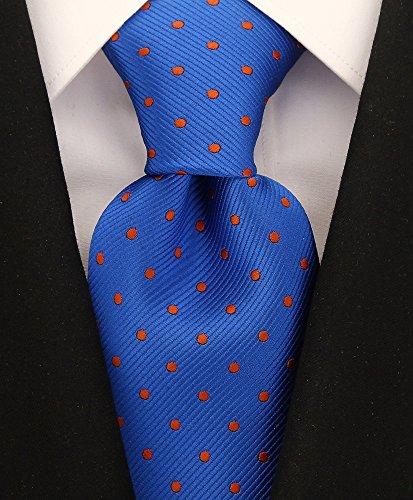 Scott Allan Mens Polka Dot Necktie - Blue & Orange (Necktie Suit)