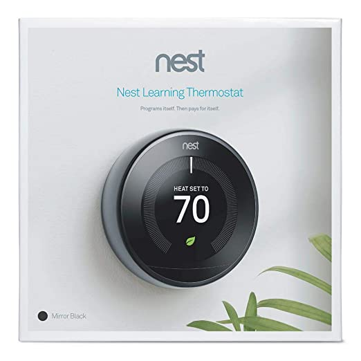 Nest Smart Learning Wi-Fi Programmable Thermostat, 3rd Gen, Mirror Black (T3018US) - - Amazon.com