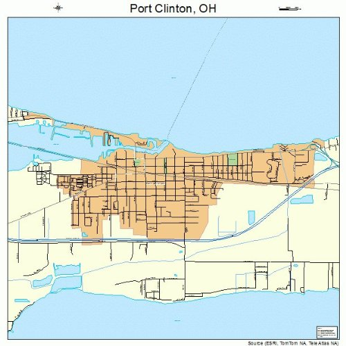 Large Street & Road Map of Port Clinton, Ohio OH - Printed poster size wall atlas of your home town (Street Wall Map Port)