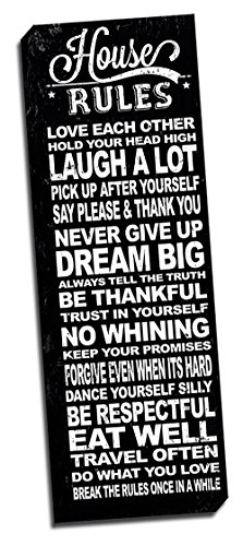 """House Rules Black Quote 12""""x36"""" Wall Decoration Typography A"""