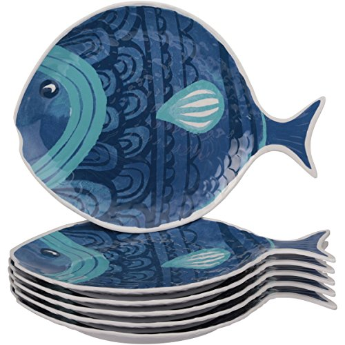 Mainstays Summer Durable Entertaining Fish Figural Plate, 6pk