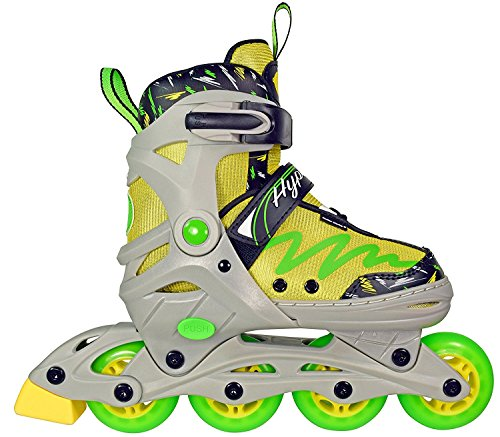 Hype Lemon Twist Adjustable Inline Skates Kids rollerblades Boys - Roller Blades for Youth - rollerskates for Kid, Boy, Girl, Girls - Comfortable fit - Safety non-slip wheels (Green/Yellow)