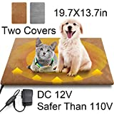 Houselog Pet Heating Pad Electric Heated Pet Mat 12V for Dogs Cats Adjustable Pet Warming Mat 19.7x13.7 Inches with 27.5 Inches Chew Resistant Cord