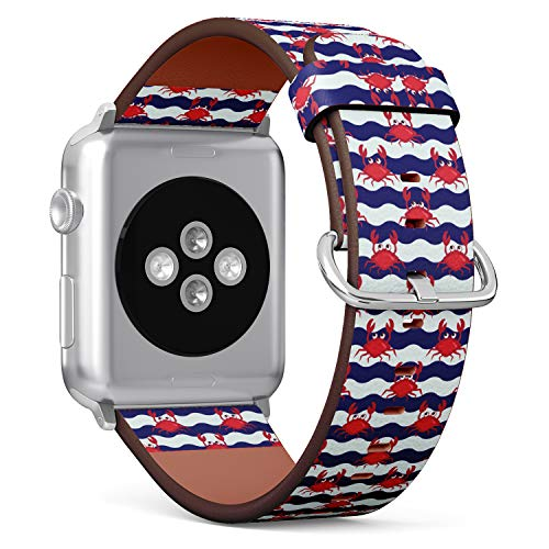 (Nautical Pattern with Cute Happy Crabs and Striped Background) Patterned Leather Wristband Strap for Apple Watch Series 4/3/2/1 gen,Replacement for iWatch 38mm / 40mm Bands