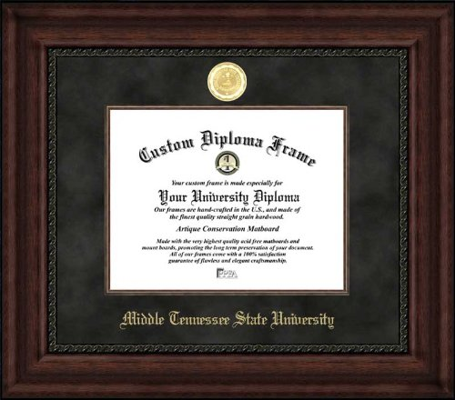 Laminated Visuals Middle Tennessee State Univ. Blue Raiders - Gold Medallion - Suede Mat - Mahogany - Diploma Frame