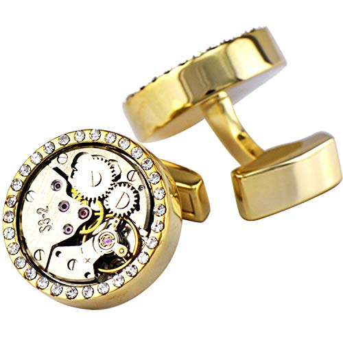 Pavaruni Original Cufflinks 50+Color Steam Punk Watch Movement Automatic Mechanical Vintage Novelty (Crystal1-Gold) from Pavaruni
