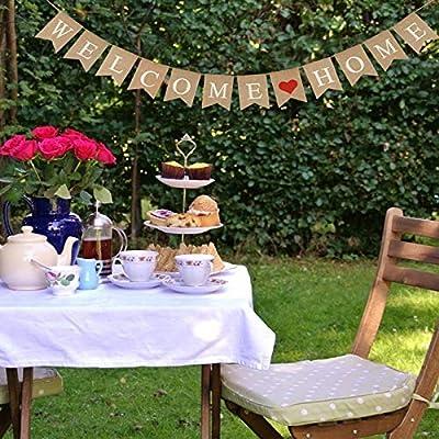 KATOOM Bandera Welcome Home 1pcs Banner Bienvenido Bunting Swallowtail Flags arpillera banderines para Celebrar Fiestas Familiares Baby Shower Militar Bienvenida Fiestas Ceremonias decoraci/ón hogar