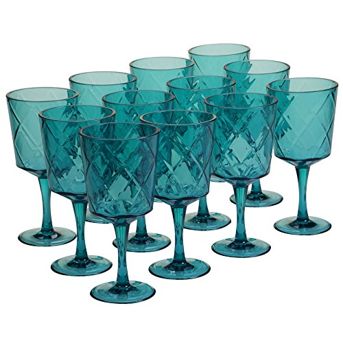 nal Teal 13 oz Acrylic All Purpose Goblets (Set of 12), Teal (Blue All Purpose Goblet)