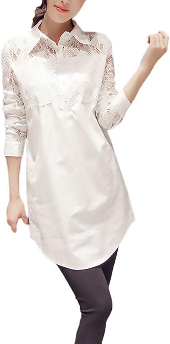 Camisas Mujer Blusas De Encaje Elegantes Manga Larga Cuello Solapa con Botones Ropa Fiesta Modernas Moda Casual Blanco Camisa Camiseta Blusa Tops: Amazon.es: Ropa y accesorios