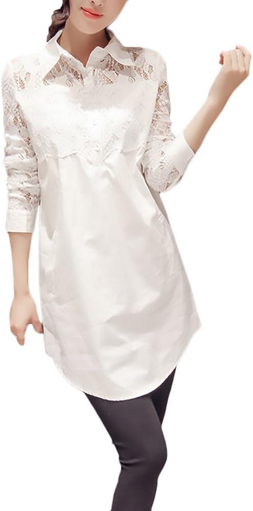 HaiDean Camisas Mujer Blusas De Encaje Elegantes Manga Larga Cuello Solapa Modernas Casual con Botones Moda Casual Blanco Camisa Camiseta Blusa Tops (Color : Blanco, Size : S): Amazon.es: Ropa y accesorios