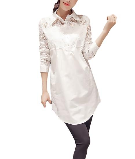Camisas Mujer Blusas De Encaje Elegantes Manga Larga Cuello Solapa con Botones Moda Casual Blanco Camisa