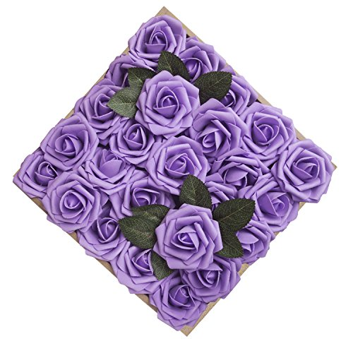 Umiss Wedding Bouquet 50pcs Artificial Flowers White Real Touch Artificial Roses for Bouquets Centerpieces Wedding Party Baby Shower DIY Decorations (Lavender) -
