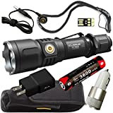 Klarus XT12S SUPER BUNDLE w/1600 Lumen LED Tactical Rechargeable Flashlight, 18650 Battery, Magnetic Charging Cable, Lanyard, Holster, Pocket Clip, Car Charger, Wall Adapter, and USB Mini Light