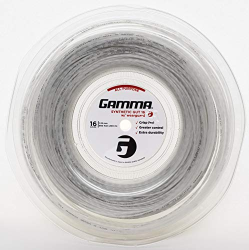 (Gamma Sports Synthetic Gut with Wearguard Tennis String Reel, 660'/16g,)
