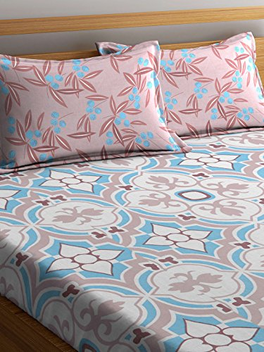 Trident Comfort Living 120 TC Cotton Double Bedsheet with 2 Pillow Covers - Floral, Queen Size, Evelyn Blue