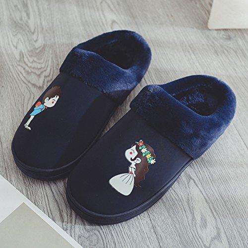 Coppie fankou home cotone pantofole indoor anti-slittamento dello spessore di soggiorno incantevole caldo pantofole uomini e donne inverno ,43-44, blu scuro.
