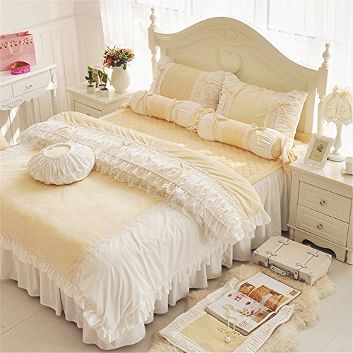 4PCS Butterfly Princess Bed Sets (Yellow) - 1