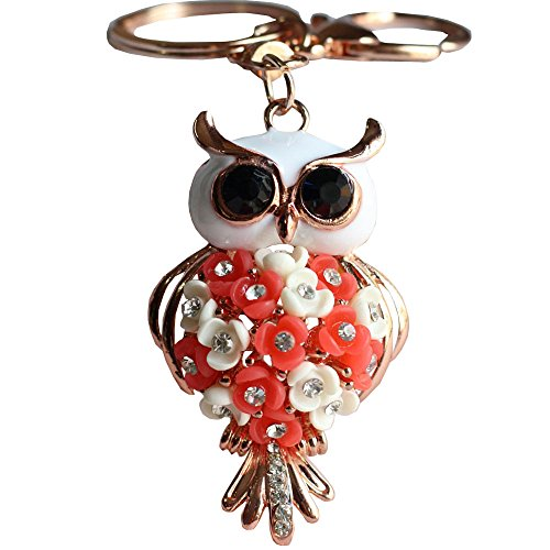 Bolbove Flower Owl Keychain Sparkling Keyring Blingbling Crystal Rhinestones Purse Pendant Handbag Charm (Red)