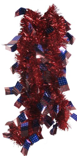 USA Red White & Blue 9 ft Tinsel Garland (American Flag) - Patriotic Tinsel Garland