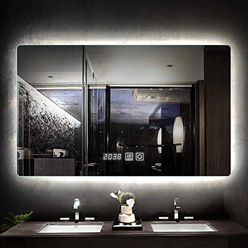 JYYSJHG LED Bathroom Mirror,Touch Sensor Switch&Demister&Time Temperature Display,Wall-Mounted Silver Mirror White/Warm Light -