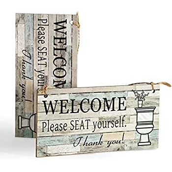 DOCMON Bathroom Decor Wall Hanging Wood Sign (2 Pack)- Welcome Please Seat Yourself - Farmhouse Rustic Wall Decor Art Sign Size 7.9