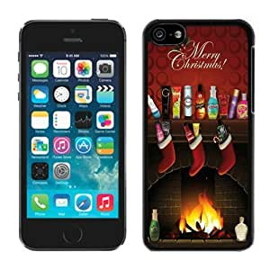 MMZ DIY PHONE CASEProvide Personalized Customized ipod touch 4 TPU Case Christmas Stocking and Fireplace Funny Black ipod touch 4 Case 1