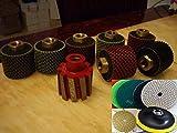 Sinkwork cut polish Kit: 2'' Zero Tolerance Drum 2'' Wet Polishing Drum 7 Pieces 4'' Polishing 25 Pad 2 Damo Buff Granite Terrazzo Concrete Marble Quartz sink basin