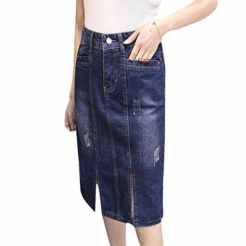 YUCH Lady's Half Jupe Est Une Jupe Mi-Longue Taille Haute Et Une Jupe Longue. Blue