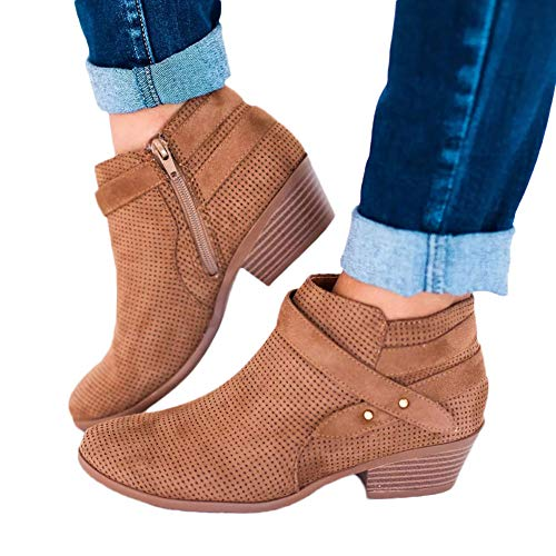 Hemlock Women Pointed Toe Ankle Booties Square Heel Work Boots Shoes Combat Boots Walking Hiking Women Boots Shoes Brown