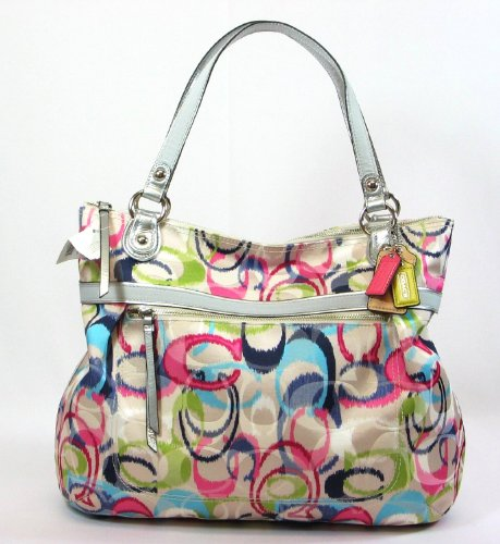 Coach Poppy Ikat Glamour Signature Zip Tote Bag 19876 Multicolored, Bags Central