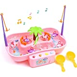 QUN FENG Fishing Game Toys, Water Tables Fishing Game for Toddlers with Music Swirl Water Pond and Fish Pole Funny for Toddlers and Kids(pink)