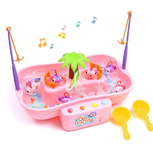 QUN FENG Fishing Game Toys, Water Tables Fishing Game for Toddlers with Music Swirl Water Pond and Fish Pole Funny for Toddlers and Kids(pink) by QUN FENG