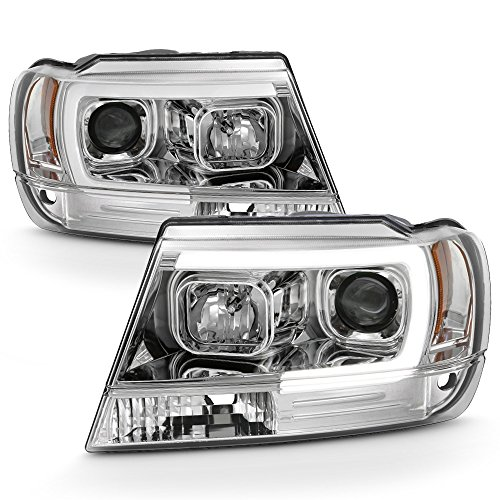 ACANII - For 1999-2004 Jeep Grand Cherokee LED Light Tube Halo Projector Headlights Headlamps Driver & Passenger Side
