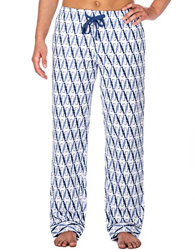 Womens 100% Cotton Flannel Lounge Pants - Its A Cats Blue World White/Blue - XL (Blue Cat Pajamas)