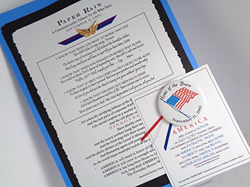 *Paper Rain* 9-11 Tribute UnFramed Print 8.75x12 w Angel Wings Charm & Bonus Flag Pin
