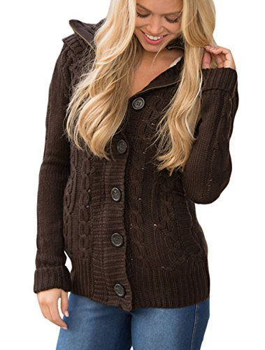 Sidefeel Women Hooded Knit Cardigans Button Cable Sweater Coat Small Brown