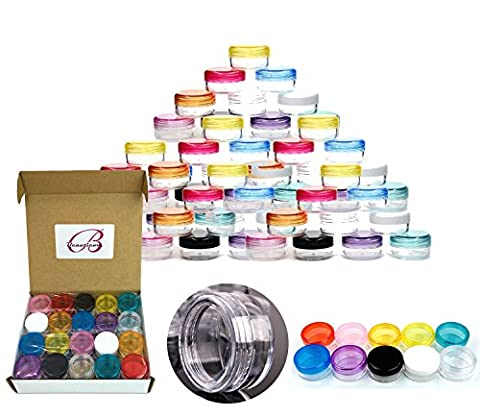 Beauticom® 120 Pieces 5G/5ML High Quality Empty Clear Container Jars with MultiColor Lids for Makeup Cosmetic Samples, Small Jewelry, Beads, Nail Charms and - Makeup Jars