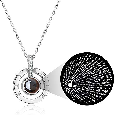 PAERAPAK I Love You Necklace - 100 Languages I Love You Round Projection Necklace for Women Love Memory Pendant Necklace Best Gift for Lover