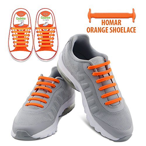 Homar Waterproof Reflective No Tie Kids Shoe Laces Elastic Athletic Shoelace for Sneakers Boots Skateboard Hiking Sport Shoe - Orange