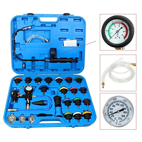 freebirdtrading 8MILELAKE 28pcs Universal Radiator Pressure Tester and Vacuum Type Cooling System Tool Kit (Blue)