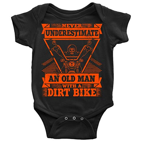 An Old Man With A Dirt Bike Baby Bodysuit, I'm A Biker T Shirt (6M, Baby Bodysuit - Black)