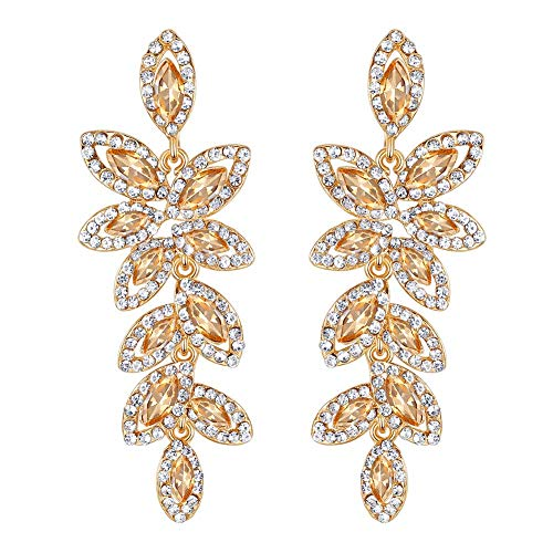 mecresh Leaf-Shape Wedding Earring for Brides Silver/Champagne Rhinestone Wedding Fine Jewelry.