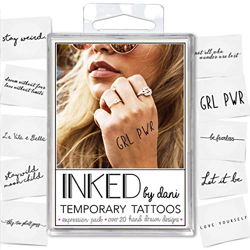 INKED by Dani Temporary Tattoo Designs - Expressions Pack. Realistic, Hand-Drawn Body Art (Quotes Temporary Tattoos)