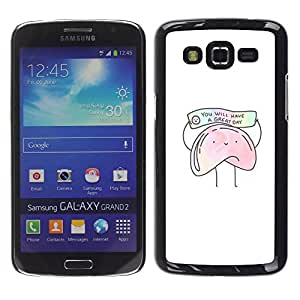 For Samsung Galaxy Grand 2 II / SM-G7102 / SM-G7105 Case , Cookie Chinese Food Text White - Diseño Patrón Teléfono Caso Cubierta Case Bumper Duro Protección Case Cover Funda