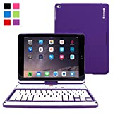 iPad Air 2 Keyboard Case, Snugg™ – Wireless Bluetooth Keyboard Cover with Lifetime Guarantee (Purple) 360° Rotatable Keyboard For Apple iPad Air 2