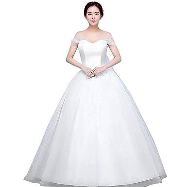 Hochzeitskleider für damen - Brawdress Weiße Garnspitze Schrägstrich ...
