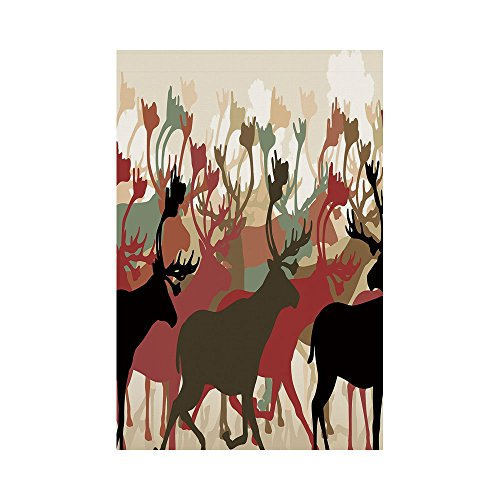 (Polyester Garden Flag Outdoor Flag House Flag Banner,Antler Decor,Reindeer Caribou Herd Migrating Colorful Silhouettes Wildlife Nature Theme Decorative,Multicolor,for Wedding Anniversary Home Outdoor)